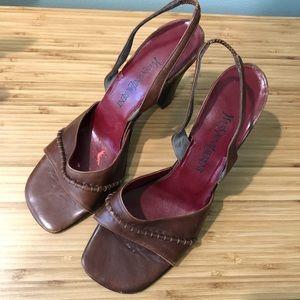 YSL Yves Saint Laurent Vintage Leather Brown Red Slingback Sandals Heels